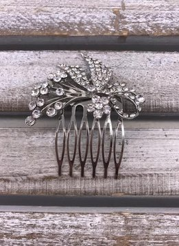 Clear Rhinestone Small Flower and Sprigs Silver Hair Comb
