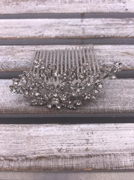 Clear Rhinestone Leaves and Flower Silver Hair Comb