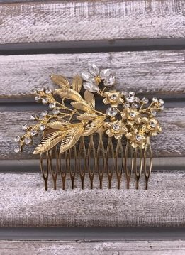 Clear Rhinestone Leaves and Flowers Gold Hair Comb