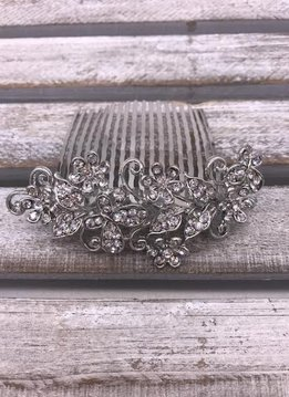 Clear Rhinestone Flower and Butterfly Silver Hair Comb