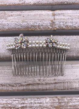 AB Rhinestones and Pearl Silver Hair Comb