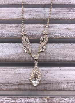 Clear Rhinestone Gold Drop Necklace