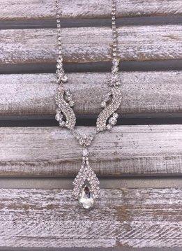 Clear Rhinestone Silver Drop Necklace