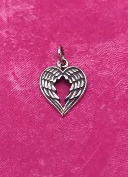 Sterling Silver Double Wing Shaped Into a Heart Charm