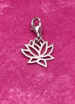 Sterling Silver Lotus Charm with Lobster Claw