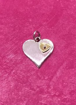 Sterling Silver Heart with Tiny Bronze Heart Charm
