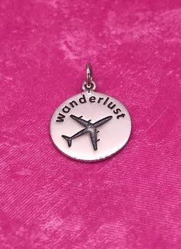 "Sterling Silver ""Wonderlust"" Charm with an Airplane"