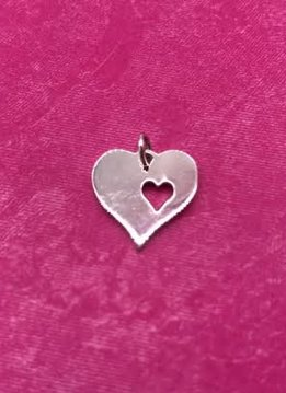 Sterling Silver Heart Charm with Big Heart and Small Cut Out