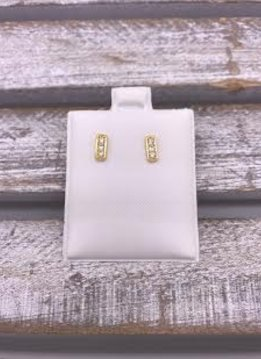 Gold Stainless Steel Rectangle Bar Studs with Cubic Zirconia