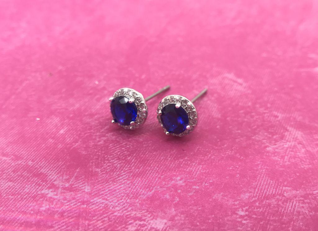 Premium CZ Birthstone Earrings-September