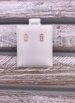 Rose Gold Stainless Steel Rectangle Bar Studs with Cubic Zirconia