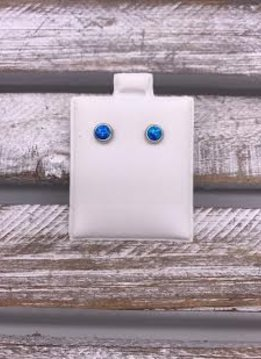 Surgical Steel Studs with Blue Opal