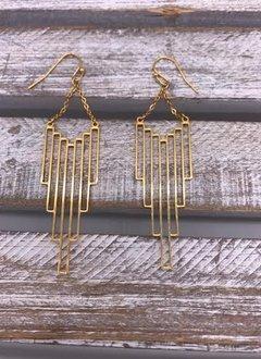 Gold Vertical Rectangle Dangle Earrings