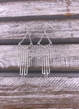 Silver Vertical Rectangle Dangle Earrings