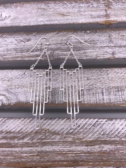 Silver Vertical Rectangle Dangle Earrings