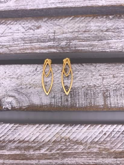 Stainless Steel Gold Marquise Shaped Drop Earrings