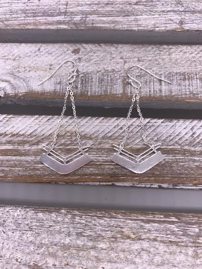 Stainless Steel Silver Geometric Chevron Dangle Earrings