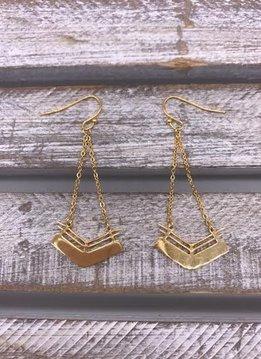 Stainless Steel Gold Geometric Chevron Dangle Earrings