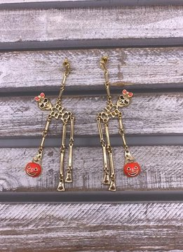 Cute Gold Halloween Skeleton Dangle Earrings