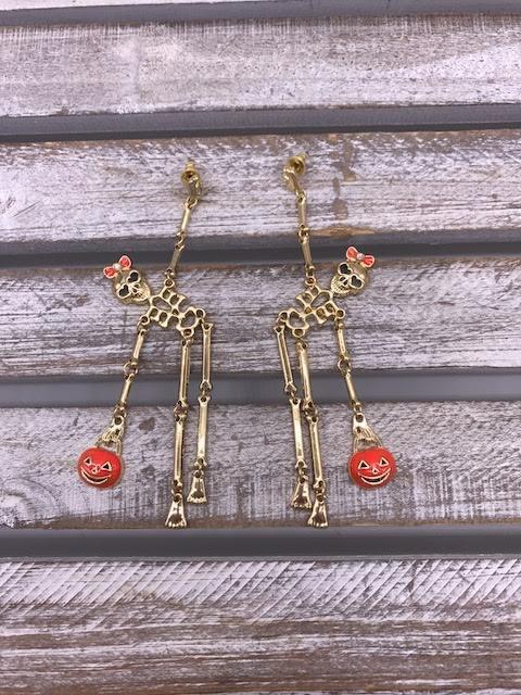Cute Gold Halloween Skeleton Dangle Earrings