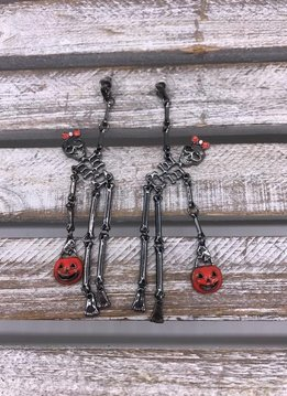 Cute Black Halloween Skeleton Dangle Earrings
