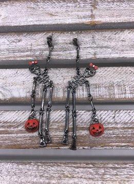 Cute Black Halloween Skeleton Dangle Earrings