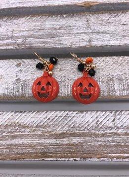 Orange Halloween Pumpkin Jack-O-Lantern Earrings