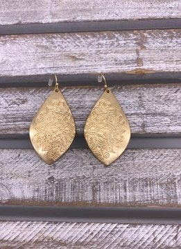 Gold Flower Design Dangling Earrings