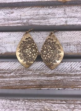 Antique Gold Flower Design Dangling Earrings