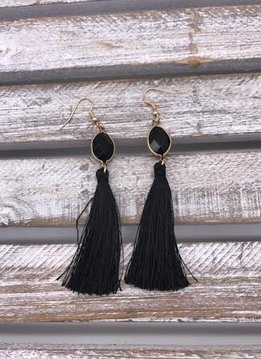 Black Semi-Precious Stone Tassel Earrings