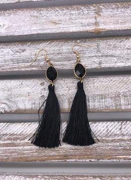 Black Semi-Precious Stone Tassel Earrings