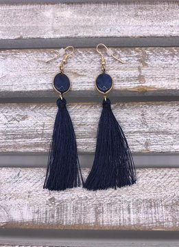 Navy Semi-Precious Stone Tassel Earrings