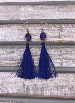 Blue Semi-Precious Stone Tassel Earrings