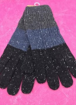 Black Tri-Colored Knit Gloves