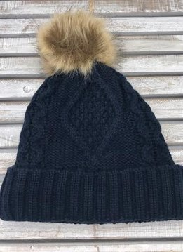 Navy Knit Hat with Brown Fur Pom Pom