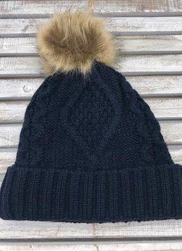 Navy Knit Hat with Brown Fur Pom Pom