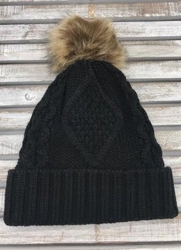 Black Knit Hat with Brown Fur Pom Pom