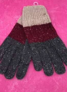 Grey Tri-Colored Knit Gloves