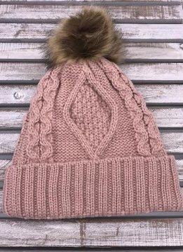 Light Pink Knit Hat with Brown Fur Pom Pom