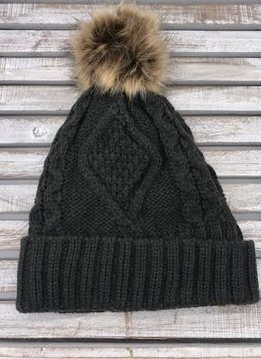 Dark Gray Knit Hat with Brown Fur Pom Pom