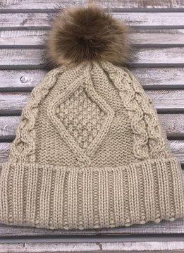Beige Knit Hat with Brown Fur Pom Pom