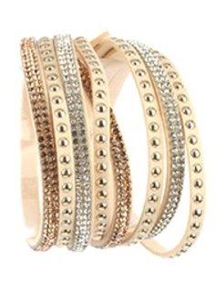 Beige Faux Leather and Rhinestone Wrap Bracelet
