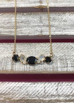 Gold Necklace with Black and Clear Rhinestone Pendant
