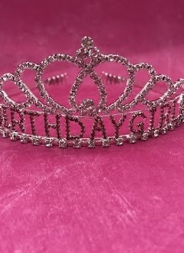 Silver and Pink Rhinestone Birthday Girl Tiara