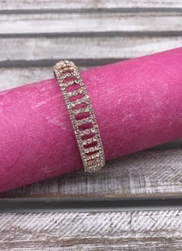 Rose Gold and Clear Rhinestone Bangle Bracelet