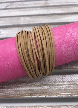 Brown Faux Leather Layered Bracelet with Magnetic Gold Closure