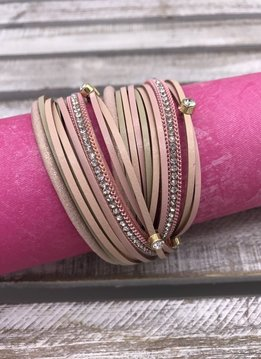 Pink and Gold Faux Leather Wrap Bracelet