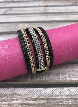 Black Wrap Bracelet with Rhinestone Design