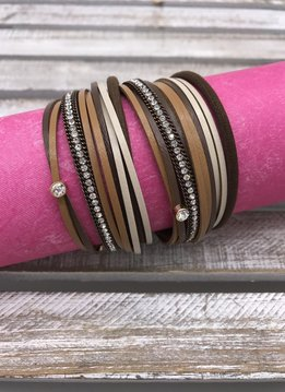 Brown Faux Leather Wrap Bracelet