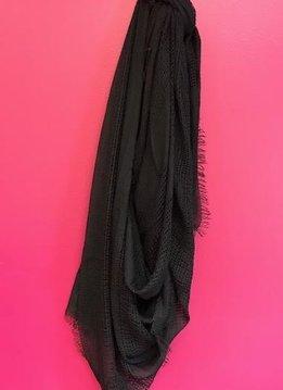 Black Shredded Weave Open Blanket Scarf